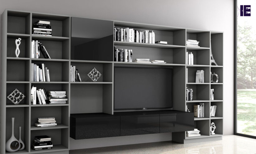 Bespoke-Library-area-with-living-room-TV-section-in-dark-grey-finish-and-black-gloss-finish-2