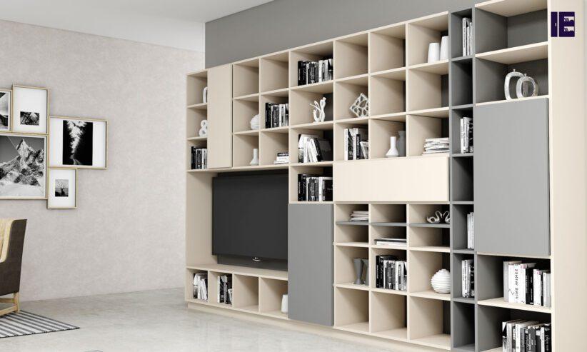 Bespoke-TV-storage-with-Book-shelf-in-cashmere-light-finish-1