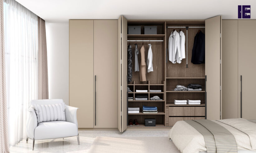 Bi-fold-folding-door-wardrobe-in-stone-grey