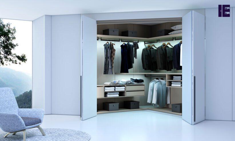 Bifold-walkin-wardrobe-in-stone-grey-finish-with-long-handles-1-1