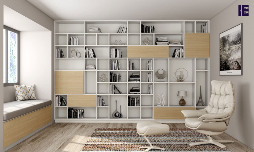 Book-shelving-for-Library-area-in-woodgrain-and-white-finish-1