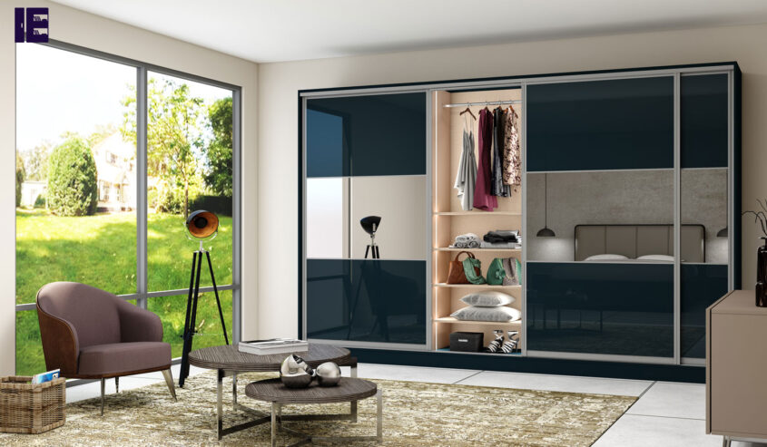 FItted-sliding-wardrobe-with-three-panels-with-combination-of-Demin-glass-and-mirror