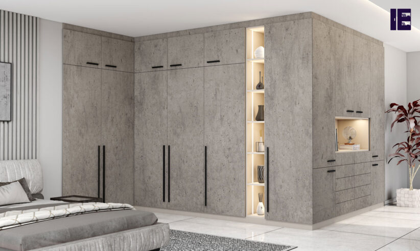 Fitted-Hinged-Corner-Wardrobes-in-concrete-finish-2
