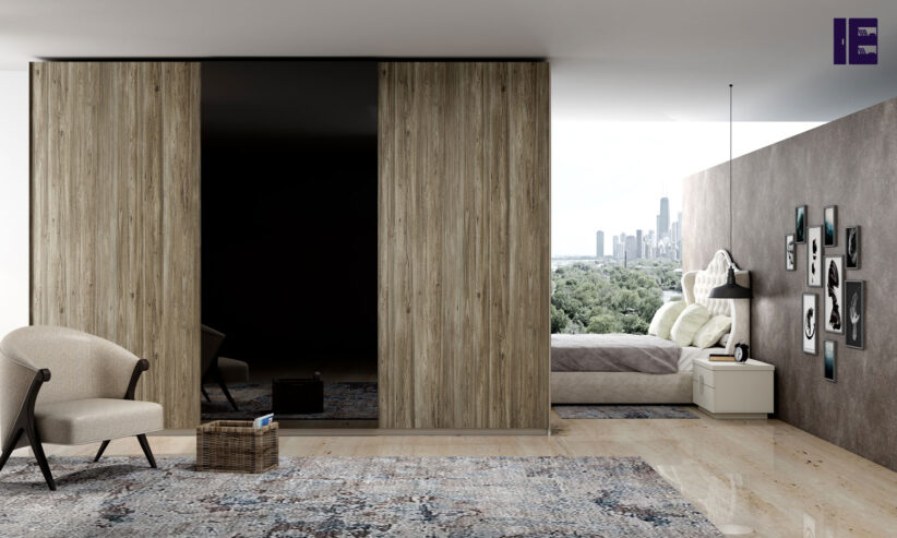 Fitted-sliding-door-wardrobe-with-frameless-top-hung-doors-in-combination-of-Wood-grain-and-Back-Smoked-mirror-finish-1