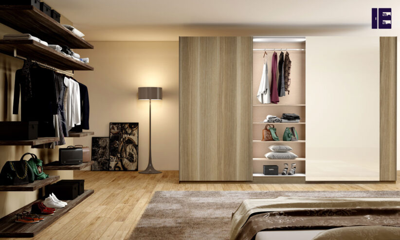 Frameless-Sliding-Wardrobe-with-Full-Panel-in-combination-of-Samara-Scuro-and-Cream