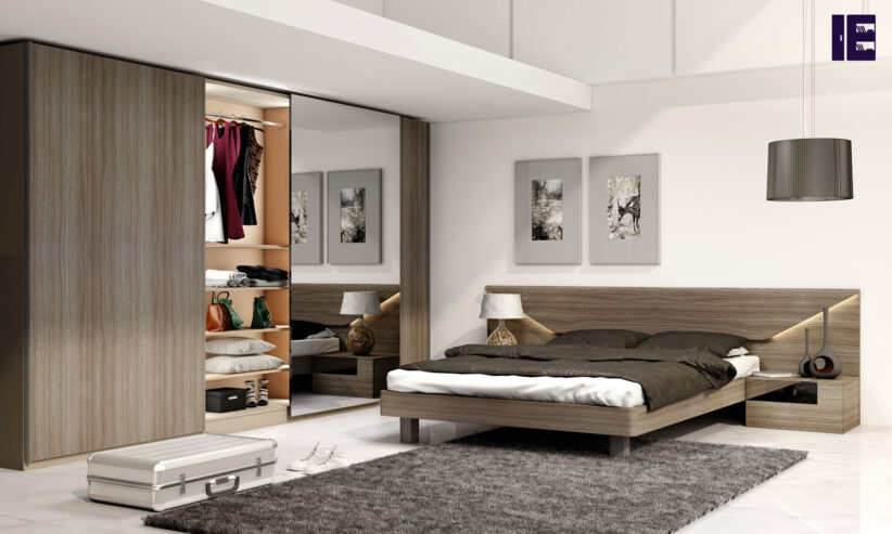 Frameless-Sliding-Wardrobe-with-Full-Panel-in-combination-of-Woodgrain-and-Mirror