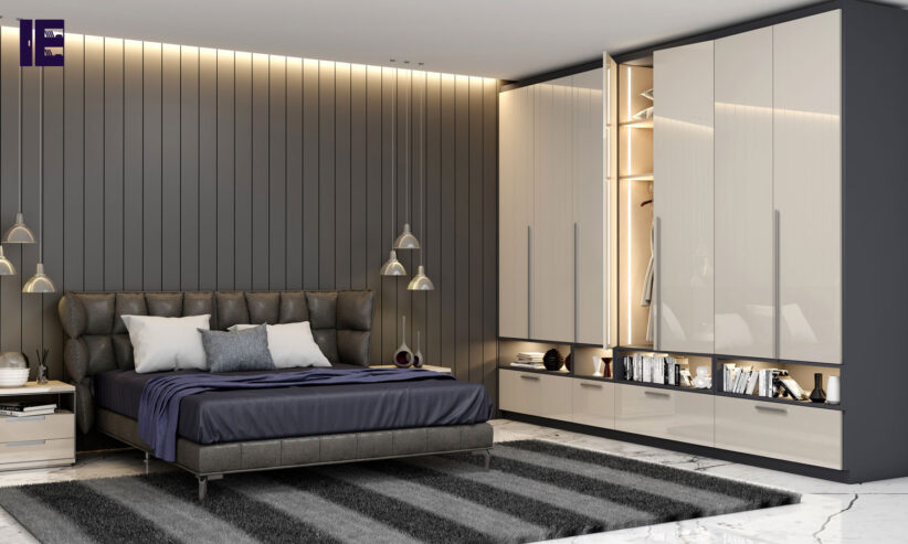 Hinged-Fitted-wardrobe-with-open-shelves-in-light-grey-high-gloss-and-indigo-blue-matt-finish-1-1