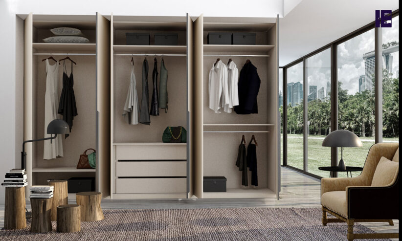 Hinged-fitted-wardrobe-in-cashmere-high-gloss-finish-with-black-profile-handles_1-1