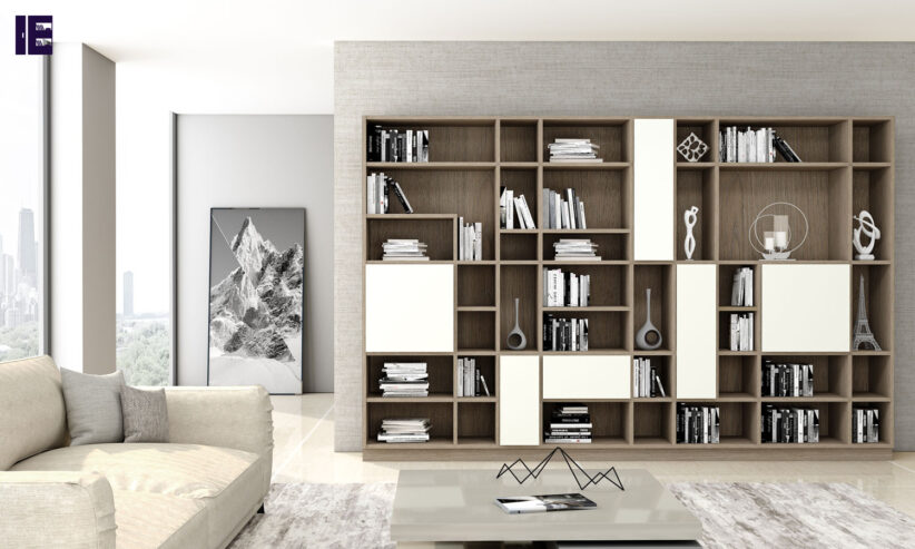Library-bookshelf-living-room-cabinet-with-Woodgrain-finish-1