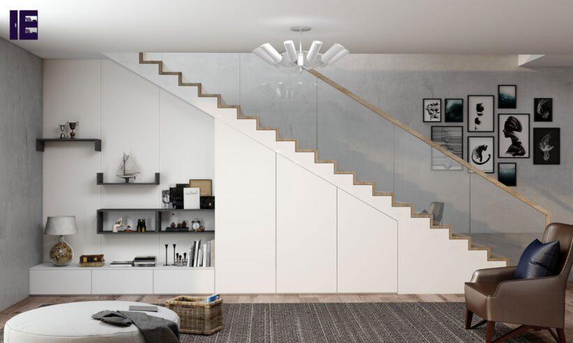 Living-staircase-loft-open-shelf