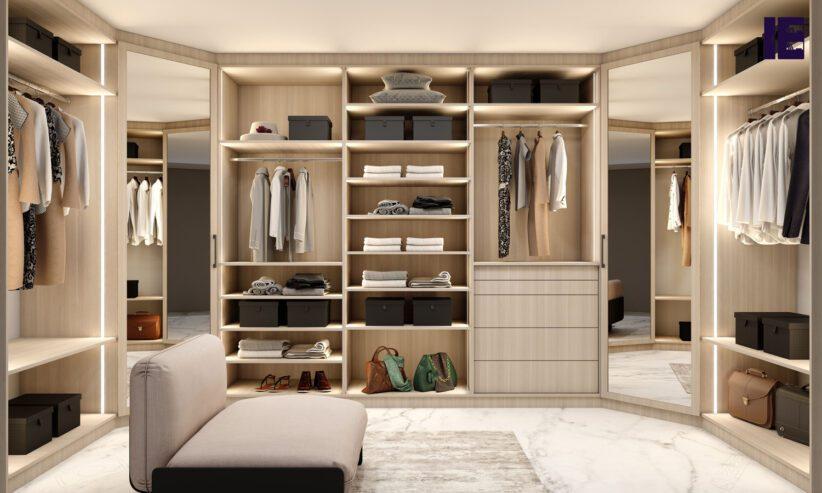 Modern-walk-in-fitted-wardrobe-in-sab-oak-finishle-light-woodgrain-finish-with-framed-mirror-corner-wardrobe-1
