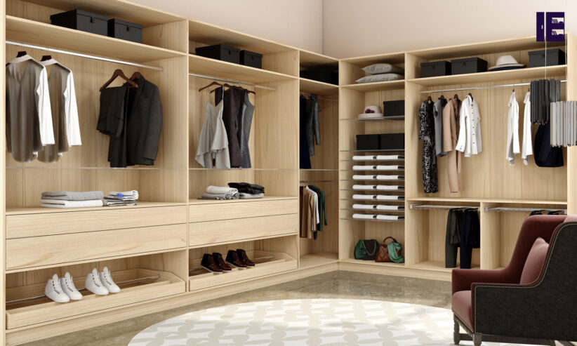 Modern-walkin-wardrobe-in-light-woodgrain-finish-1