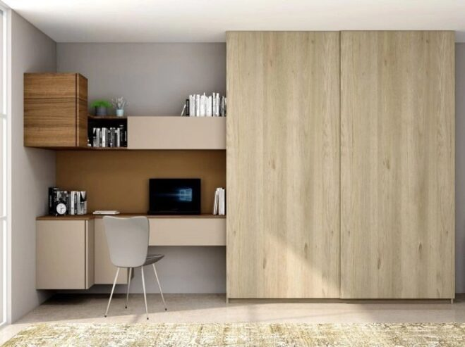 Sliding-Wardrobe-with-Study-Desk-Unit-in-Stone-Grey-and-Antique-Brown-Borneo-and-Grey-Odessa-Oak