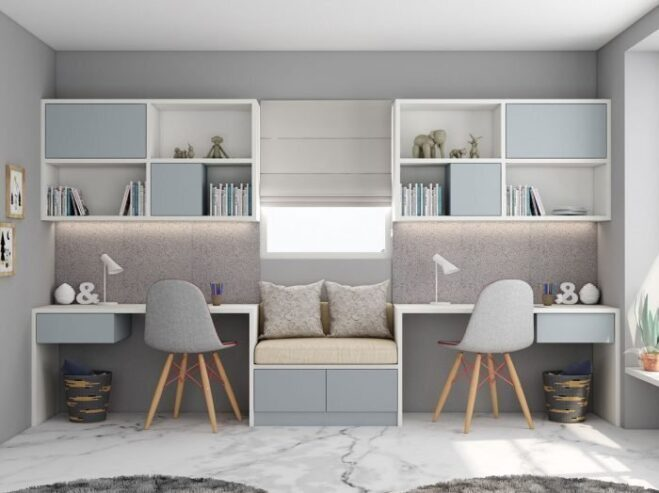 Study-office-finished-in-Light-grey-and-Alpine-White-with-a-cushion-seating-in-centre-1