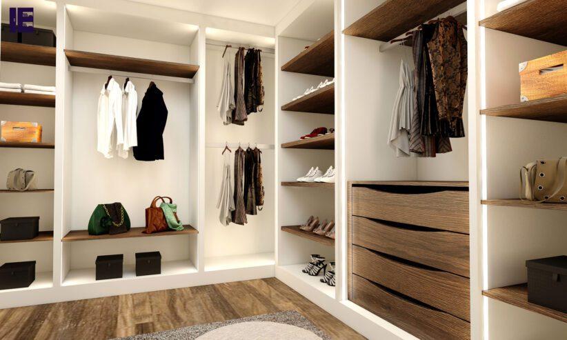 Walkin-wardrobe-white-matt-and-woodgrain-oak-finish-with-LED-1