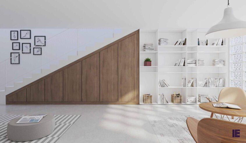 loft-angled-fitted-wardrobe-bokshelf-wood-grain